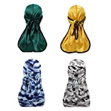 2 pcs Camouflage Premium Silky Durags and 2 pcs Solid Satin Du-Rags with 360 Waves for Men Doo rag (Set13)