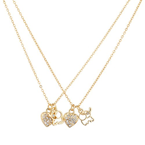 [Lux Accessories Goldtone Dainty Elephant Charm Necklace Set (2PC)] (Good Costume Ideas For Two Friends)
