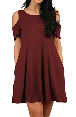 NEINEIWU Women's Summer Cold Shoulder Tunic Top Swing T-Shirt Loose Dress With Pockets Wine Red-M