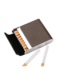 Stainless Steel Cigarette Case Vertical Section Ultra Thin Portable Cigarettes Box Business Gift Can Accommodate 20,Gray,9.5X8.2X2.1CM