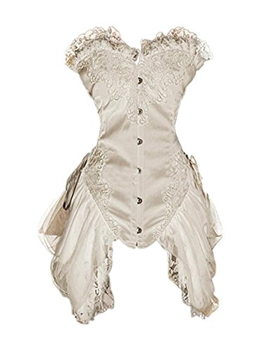 Leright Women's Corset Dress Overbust Vintage Victorian Gothic Lingerie Corset, Nude, Small