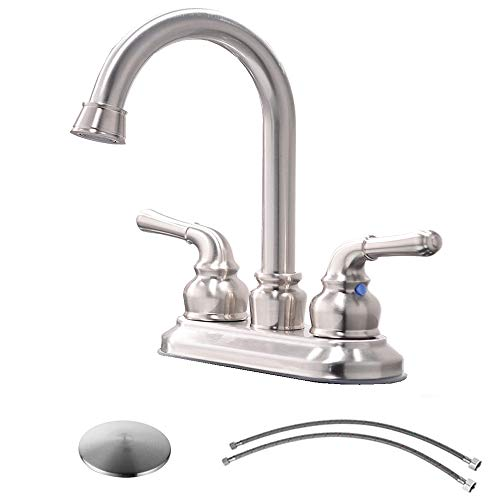 VCCUCINE Commercial Contemporary Brushed Nickel Two Handle Bathroom Sink Faucet, Lavatory Faucet with Drain Assembly and Supply Hose ()