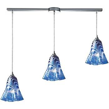 elk 313423lvbl vestido 3light pendant with blue glass shade