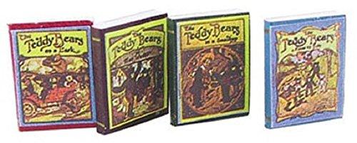 Dollhouse Miniature Antique Teddy Bear Books in a Set of Four from Carradus Miniatures