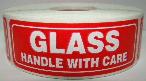 1 Roll of 1000 Labels 1x3 GLASS Handle with Care Shipping Labels Stickers