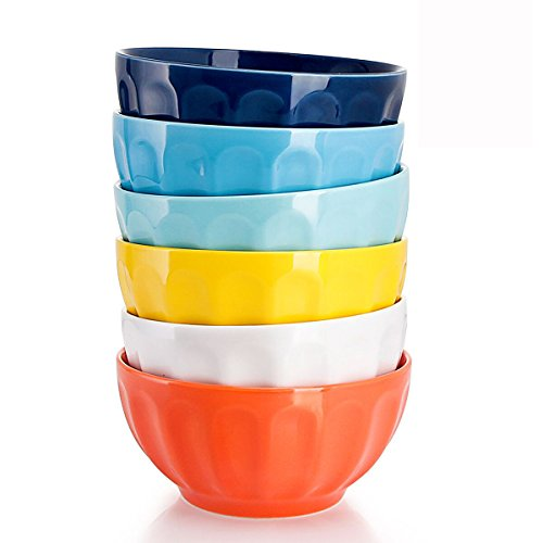 Sweese 1109 Porcelain Fluted Bowl Set - 26 OZ Deep and Microwavable for Cereal, Soup - Set of 6, Hot Assorted Colors