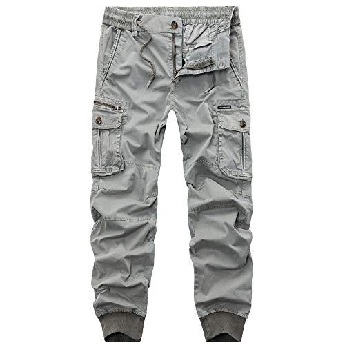 3xl Uomo Cerniera Tasca Cargo Pieghe Pantalone Dragon868 Vita Taglie E Forti Smocked Grigio M Pantaloni Con Grand FqwBnZf1T
