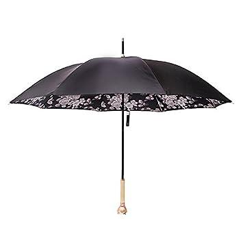 ZGB Rosas paraguas largo mango paraguas mujer creativa paraguas doble lluvia y la lluvia de doble