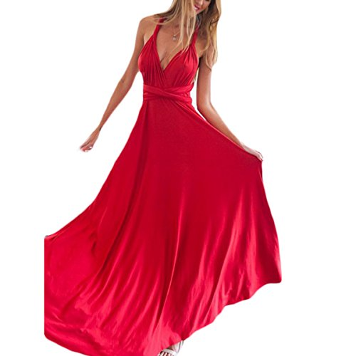 Vestidos Largos Elegantes sin Manga para Mujer Vendaje Coctel Maxi Vestido vestido de noche Rojo