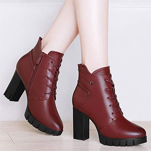 Altos Botas Tacones Pingxiannv Zapatos Otoño Atan Primavera Mujer Botines Cuero Negro Plataforma TSO0S8