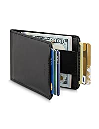 HUSKK Leather Wallet for Men - Credit Card Sleeve Holder With Money Strap [CSBW2-B]