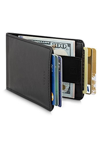 Slim Front Pocket Leather RFID Wallet for Men with Strap Money Clip - Premium Quality Leather - Up to 8 Cards