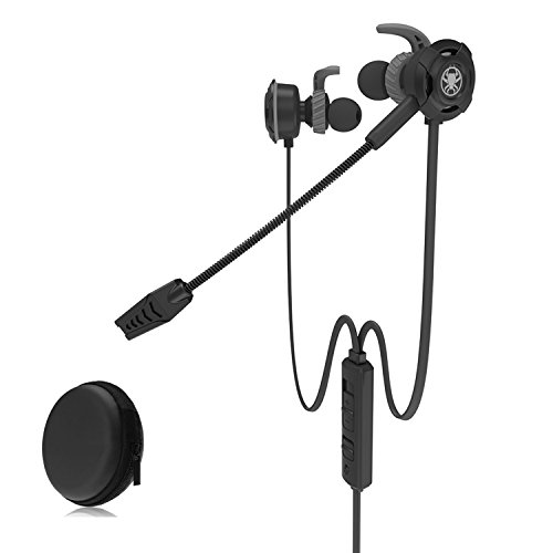 HD Gaming Headset with Mic 3.5mm in-ear Noise Cancelling Portable Mobile Game Earbuds for Iphone 6/Samsung S8 Smartphones PC Tablet PS4 etc(G30-BK)