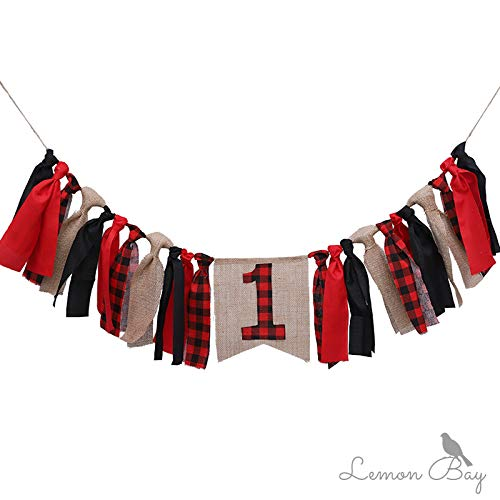 PinShang Red Plaid Christmas Party Highchair Banner Timber