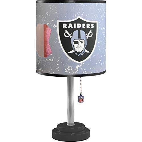 MISC NFL Oakland Raiders Table Lamp Large, 18 Inch Desk Lamp with Shade Sports Pattern Cute Football Themed Nightstand Lamp Team Logo for Fan Team Spirit Silver, MDF Plastic