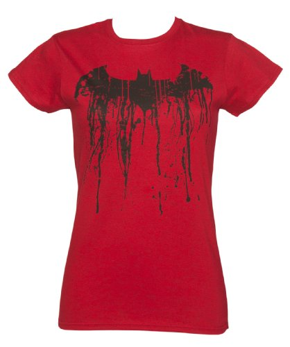 Womens Red Batman Graffiti Logo T Shirt, Red, XX-Large ()