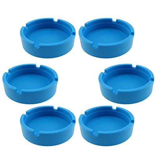 Design Ashtray - InnoLife - Eco-Friendly Colorfull Premium Silicone Rubber High Temperature Heat Resistant Round Design Ashtray (Blue)