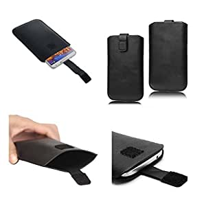 DFV mobile - Leather Pouch case Pocket Sleeve Bag with Velcro for => Spice Pinnacle Stylus Mi-550 > Black