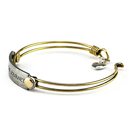 Yiyang Handmade Vintage Inspirational Brass Bangle Bracelet Motivational Quotes Engraved Adjustable Jewelry Gifts (Enjoy the journey)