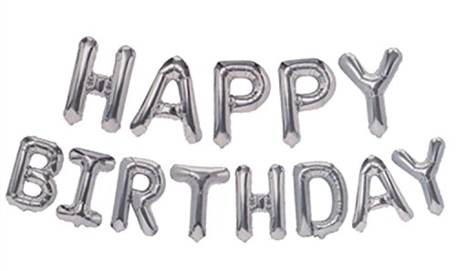 Birthday Balloon Silver (Grainee Happy Birthday Balloons, Mylar Aluminum Foil Banner Balloons for Birthday Party Decorations and Supplies (Silver))