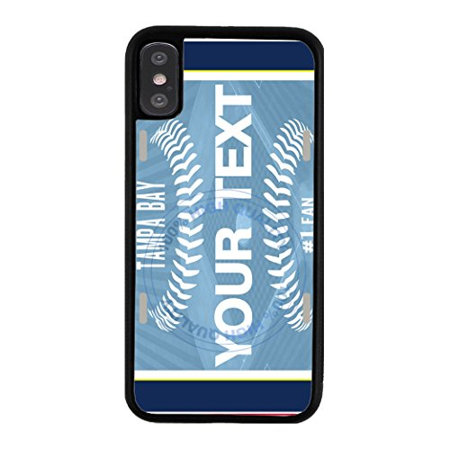 BleuReign(TM) Personalized Custom Name Baseball Tampa Bay License PlateTPU RUBBER SILICONE Phone Case Back Cover For Apple iPhone X Ten