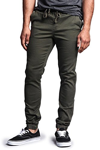 G-Style USA Mens Slant-Pocket Skinny Joggers - Olive - Small - JJ1F (Zara Jeans Men Skinny)