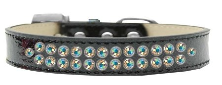 Mirage Pet Products Two Row AB Crystal Black Ice Cream Dog Collar, Size 20 by Mirage Pet Products
