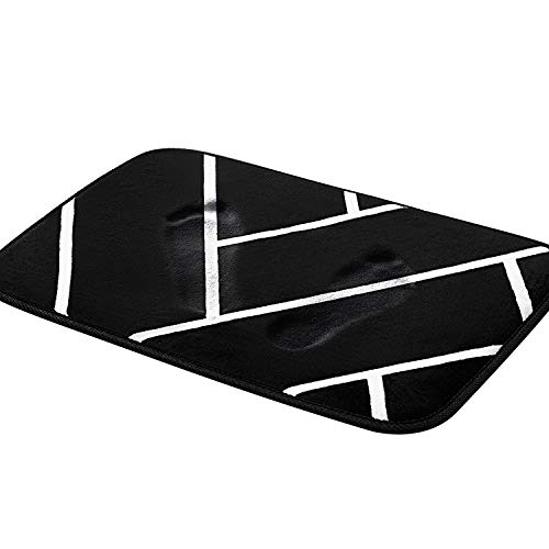 Pragovle Memory Foam Bath Mat Non Slip Absorbent Super Cozy Velvet Doormat for Bathroom and Livingroom Rug Carpet (16X24inch, Black Lines) (Black Mat Bathroom)