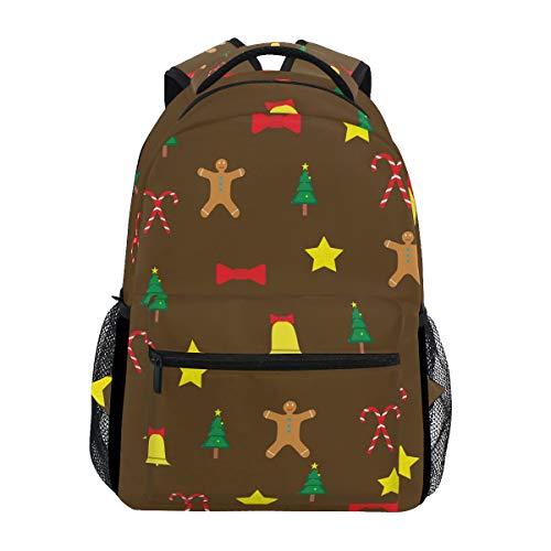 Backpack Women Men Teen Girl Boy School Bag Purse Christmas Gingerbread Man Bookbag Casual Daypack Supplies (Drawstring Has Compartment Main)
