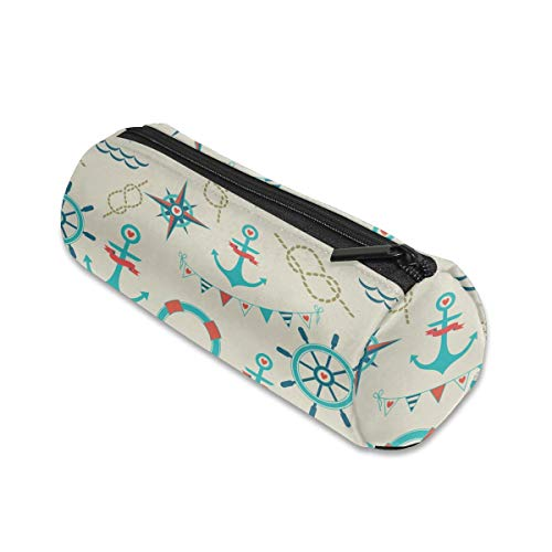 Anchor Rope Flags Compass Cylinder Women Cosmetic Bag Zipper Single Layer Travel Storage Makeup Bags Purse