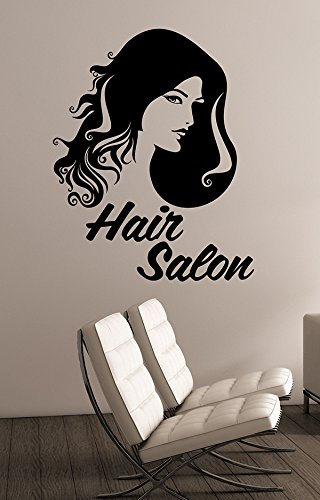 Hair Salon Sign Wall Sticker Vinyl Decal Barber Barbershop Window Decorations Haircut Hairdressing Fashion Studio Decor (Saloon Girl Hairstyles)