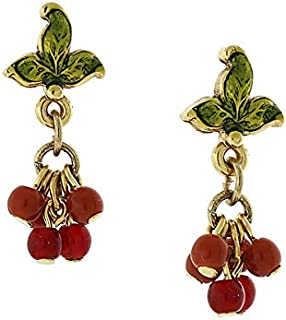 product image for 1928 Jewelry 14K Gold-Dipped Burgundy Beaded Earrings