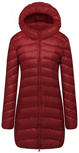 Cloudy Arch Women's Winter Outwear Light Down Coat Hooded Jacket NCK, Claret, US M, Asian XL