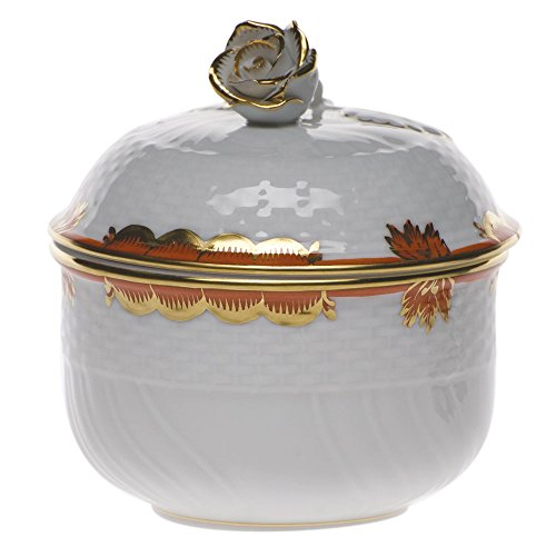 Herend Princess Victoria Rust Covered Sugar With Rose - Saucer Soup Cream Rose