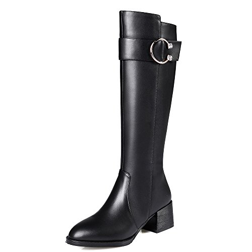 Leather Women's Heel Block Genuine Style Seven Buckle Pointed High Nine Black Boots Knee Handmade Toe xTBfwy