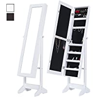Cloud Mountain White Jewelry Armoire Mirrored Jewelry Cabinet Free Standing, 3 Angle Adjustable Organizer
