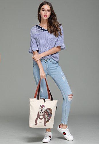 So'each Women's Floral Squirrel Printed Graphic Canvas Handbag Tote Shoulder Bag