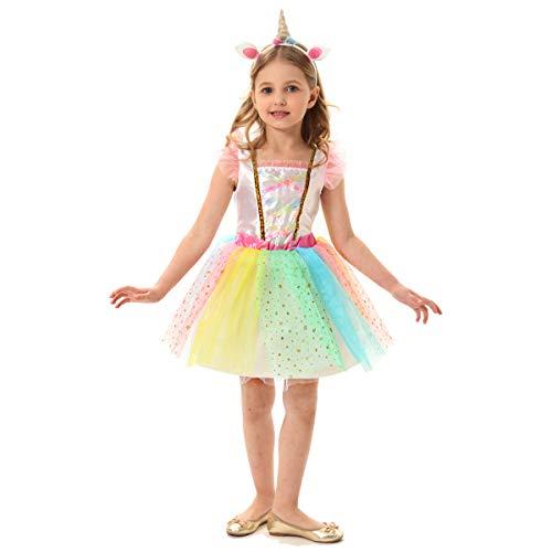 (Girls Unicorn Costume Rainbow Unicorn Tutu Dress Unicorn Themed Birthday Party Outfit (M)