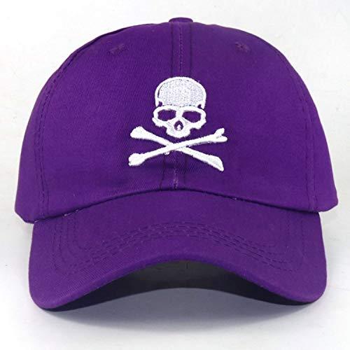 頭骨 刺繍 野球帽 調整可能な 綿 ゴルフ カジュアルキャップ アウトドアス ポーツ帽子,紫の