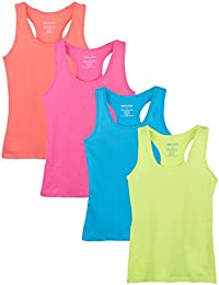 dee93f75b438d6 Big Girls 4 Pack Racerback Tank Tops