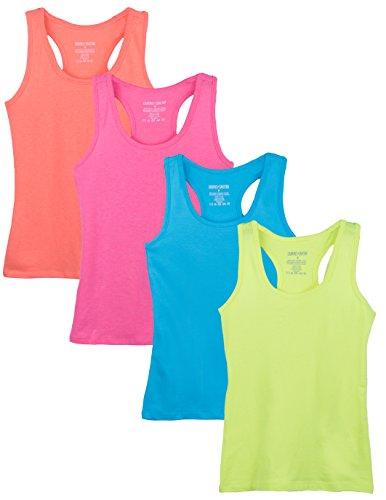 Caramel Cantina Big Girls 4 Pack Racerback Tank Tops (10, Neon (Cotton Dance Tank Top)