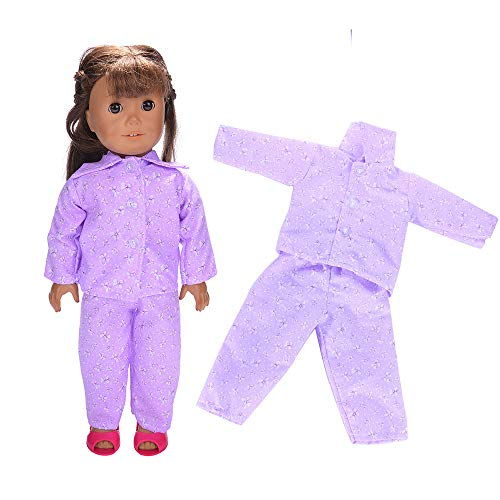 PSFS Clothes Wardrobe Clothes Dress Pajamas for 18 Inch American Girl Doll Accessory Girl Toy (Purple)