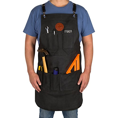 HauteCanvas Multi-Pocket Utility Apron | Heavy Duty Waxed Canvas Apron for Tools | Easy to Clean Apron with Adjustable Buckle Straps & Multiple Storage Pockets (Black)