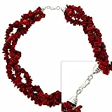 Sterling Silver .925 Red Genuine Sea Bamboo Coral Chip Stone Twisted 3 Strand Torsade Necklace