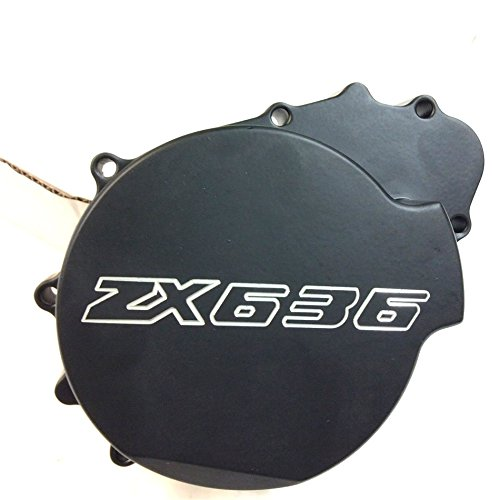 XKH- Motorcycle Billet Motor Engine Stator Cover Compatible with Kawasaki Zx6R 636 2003 2004 Black Left Side ()