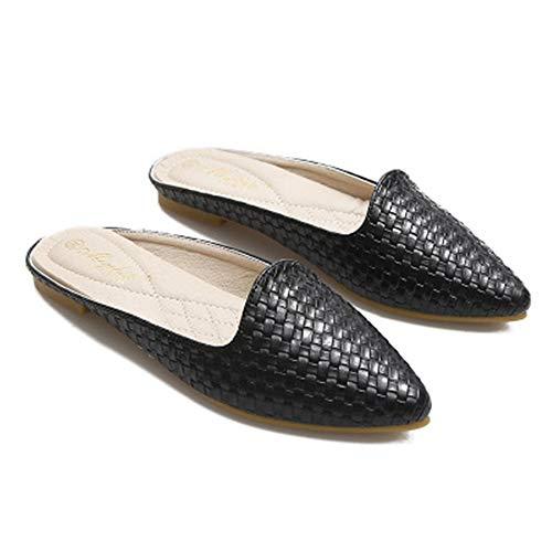 Mule Slippers Women,Pointed Toe Slides Backless Dress Sandals(Black-Lable 42/10 B(M) US Women) ()