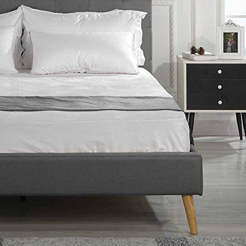 DIVANO ROMA FURNITURE Full Platform Bed Frame and Tufted Upholstered Headboard - Mattress Foundation & Wooden Slat Support, No Spring Box Needed