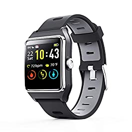 ENACFIRE Smart Watch, W2 GPS Fitness Tracker IP68 Waterproof Smartwatch, Heart Rate Monitor, Sleep Tracker, Step Counter, Activity Watches for Men, Women, Compatible with Android iOS Phone