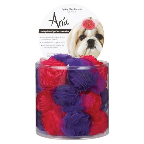 Aria Polyester Spring Fling Dog Barrettes Canisters, 2-Inch, 28-Pack, Raspberry Sorbet and Ultraviolet Dog Barrettes Canister