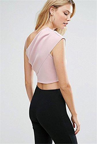 Moda Sin Mangas Asimétrico Tirantes Finos Blouse Tank Camiseta de Tirantes Camisola Cami Corta Corto Crop Top Rosa Rosa